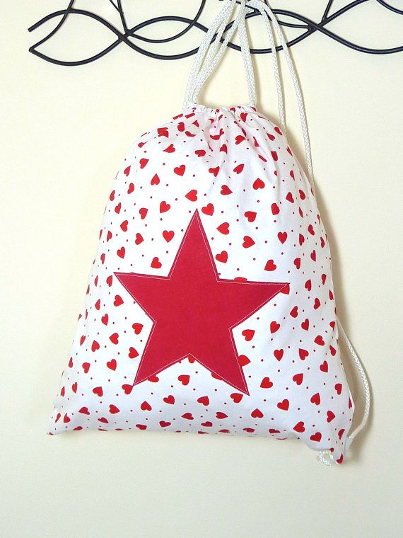 Girls Large Cotton Backpack Drawstring Bag  by StarBrightDesignsUK, £8.00