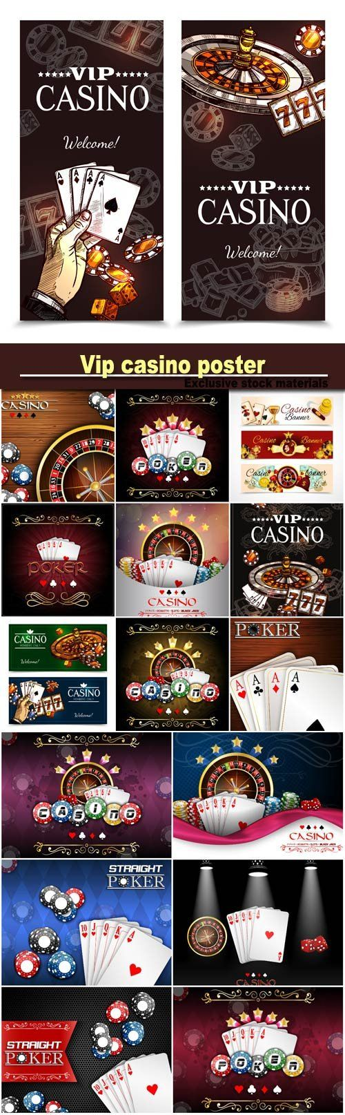 Vip casino poster with roulette wheel cards for poker play chips dice