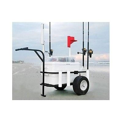 Beach Fishing Cart. It's time to gear up for some Fishing! Transport all your Fishing gear in one trip with the Sea Striker BRSC Beach Runner Fishing and Beach Cart. Ideal for use as a Beach, Surf or Pier Cart. Perfect for any Angler / Fisherman who needs to lug his/her gear, such as a Cooler, Fishing Rods, bait and tackle, down to where you will be fishing. Large enough to hold a 54 quart Cooler and hold up to seven fishing poles.This cart will give you years of service.