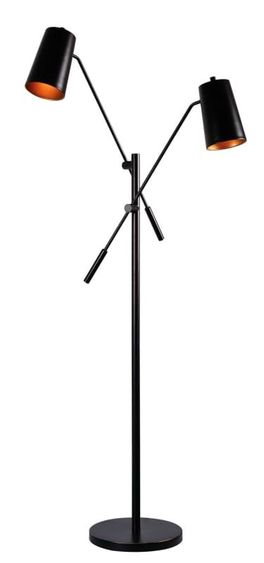 "Kenroy Home 32963 Avallone 2 Light 0"" Wide Floor Lamp with Metal Cylinder Shades Matte Black Lamps Floor Lamps"