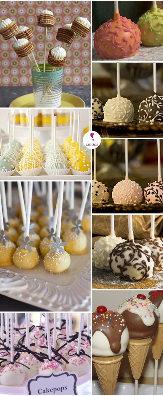 Heaps of cake pop ideas as wellas good display ideas, put oasis in tin shred coloured paper and put on top of oasis
