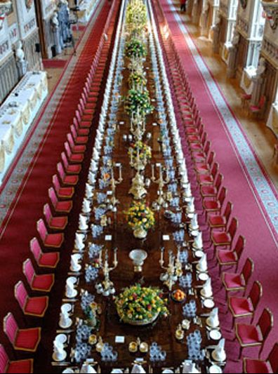 State Banquet, Windsor Castle, UK Every plate, every glass, every fork is measured and it shows!  Beautiful!