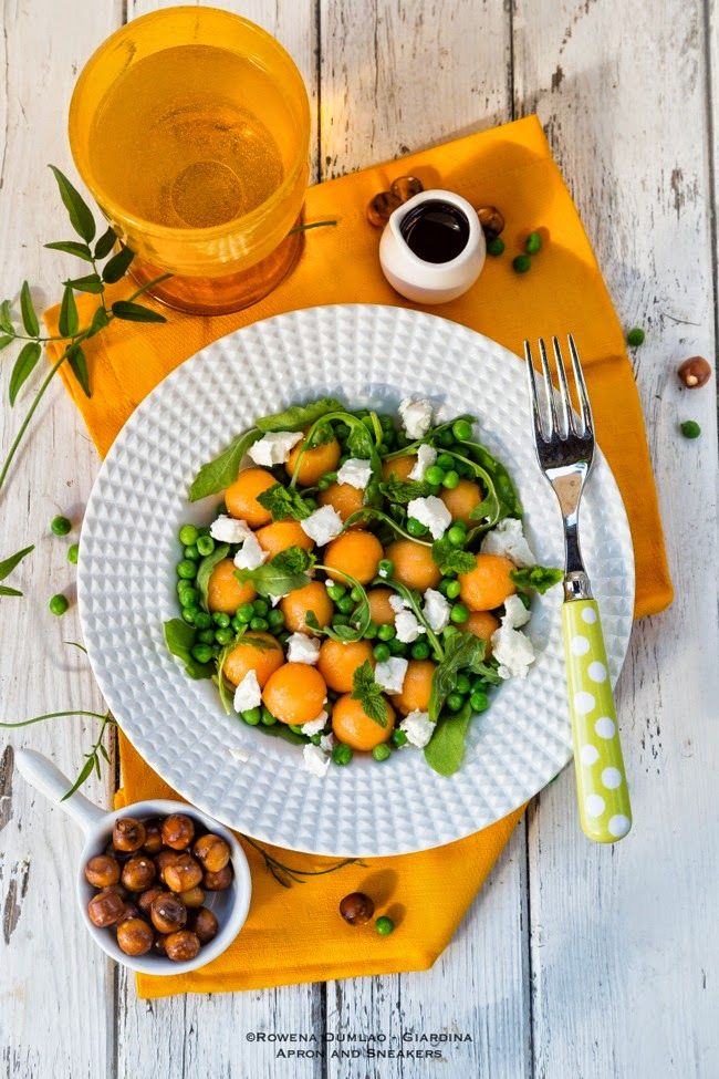 Apron and Sneakers - Cooking & Traveling in Italy and Beyond: Pea, Melon and Feta Salad with Elderflower Vinaigrette