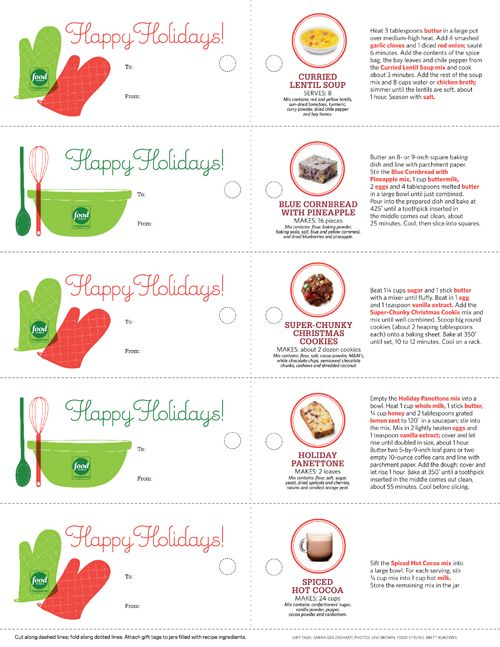 """Free Printable Holiday Gift Tags for """"Recipes in a Jar""""!"""