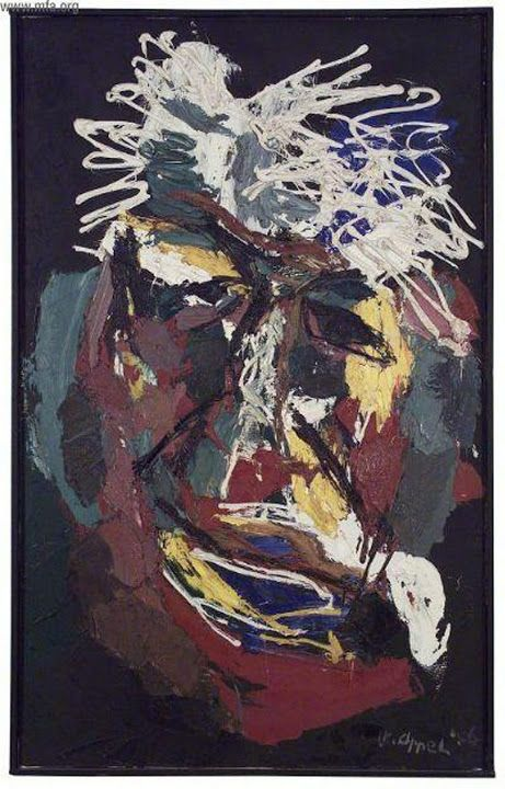 Willem Sandberg 1956 by Karel Appel, (1921–2006), a Dutch painter, sculptor, and poet. He started painting at the age of fourteen and studied at the Rijksakademie in Amsterdam in the 1940s. He was one of the founders of the avant-garde movement Cobra in 1948.
