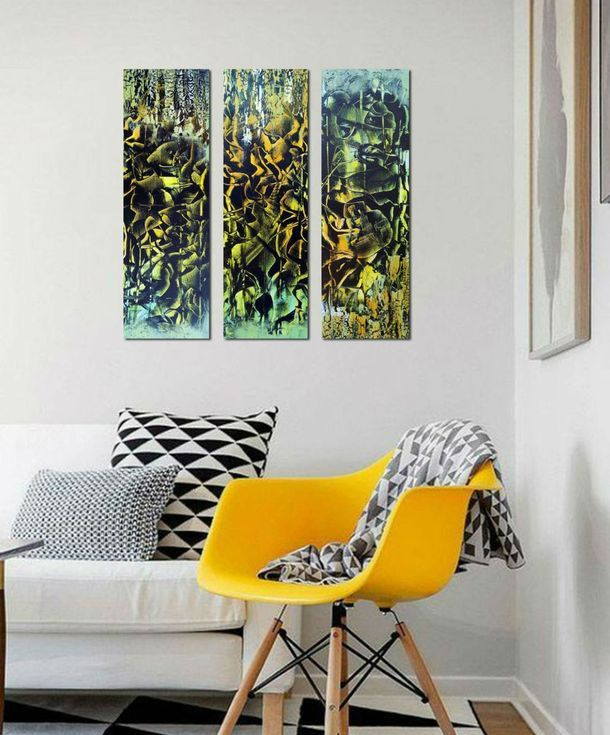 Buy The lights of the night. Abstract triptych, Acrylic painting by Areti Ampi on Artfinder. Discover thousands of other original paintings, prints, sculptures and photography from independent artists.#abstract #art