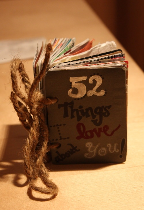 """52 Things I Love About You"" booklet from my sister. Made from a deck of cards"