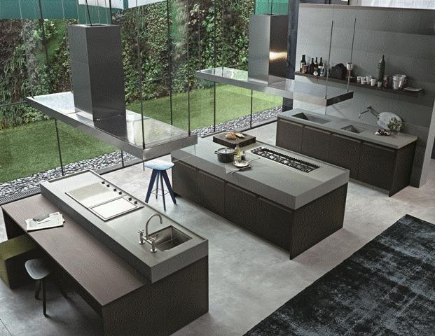 POLIFORM: Minimal kitchen with worktop in Serena stone and Ics stool