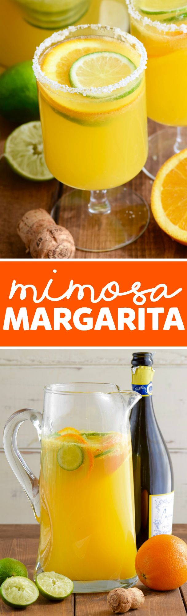These Mimosa Margaritas are super easy to make. Throw together a giant pitcher in a snap and add something super delicious to your brunch!: