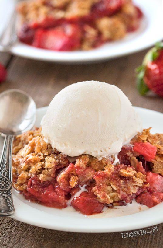 Strawberry Rhubarb Crumble (gluten-free, vegan, 100% whole grain and dairy-free)
