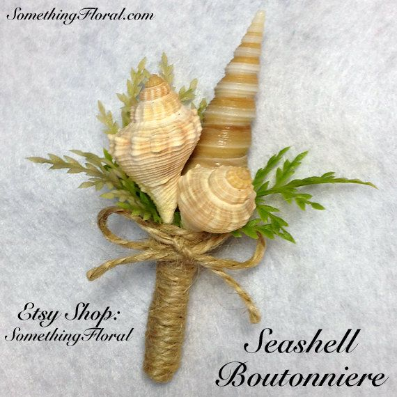Seashell and Realistic, Artificial, Sea Grass Boutonniere. Choice of ribbon color, jute, or burlap. Perfect for a beach or destination wedding. #beach #wedding #boutonniere