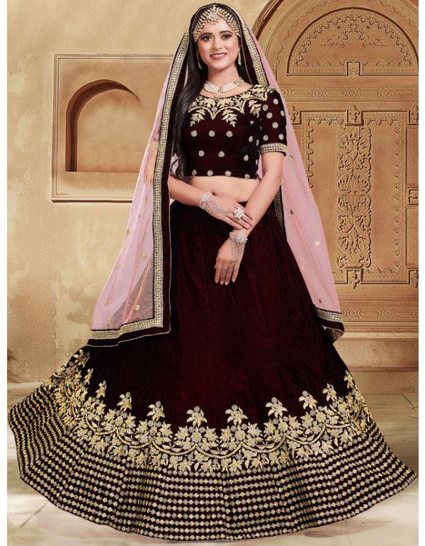 b10ee1bd55 Coffee Brown Velvet Lehenga Choli with Net Dupatta. Latest Indian designer  Wedding Wear Brown Color ...
