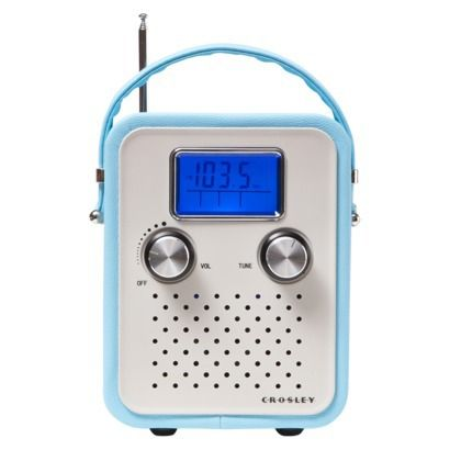 Crosley Songbird Leather Radio - Turquoise (CR8006A-TU)  Target sells this  $ 49.99   LOL I remember my first small portable radio.