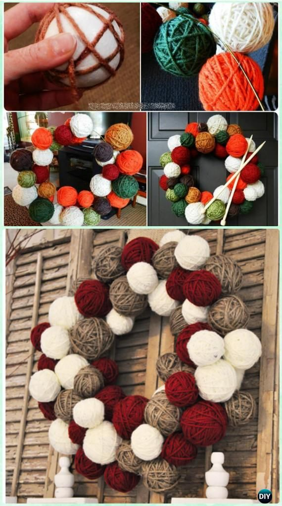 DIY Yarn Ball Wreath Instructions- Christmas Wreath Craft Ideas Holiday Decorati…