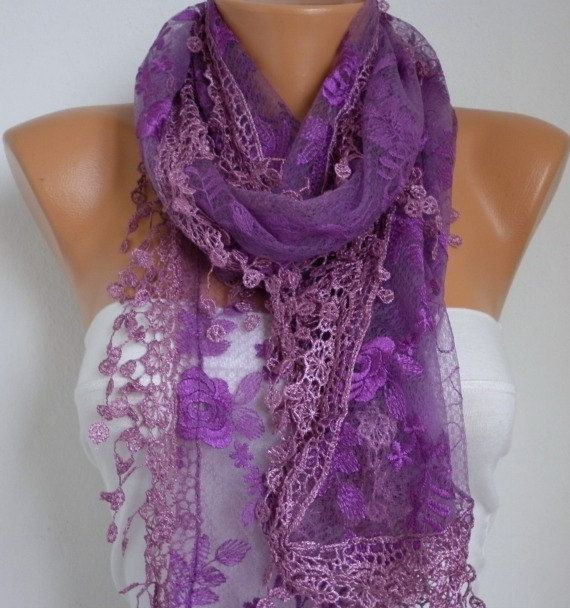 ON SALE - Purple Lace Scarf - Shawl Scarf Cowl Scarf Lace Edge Gift Bridesmaid Gift fatwoman