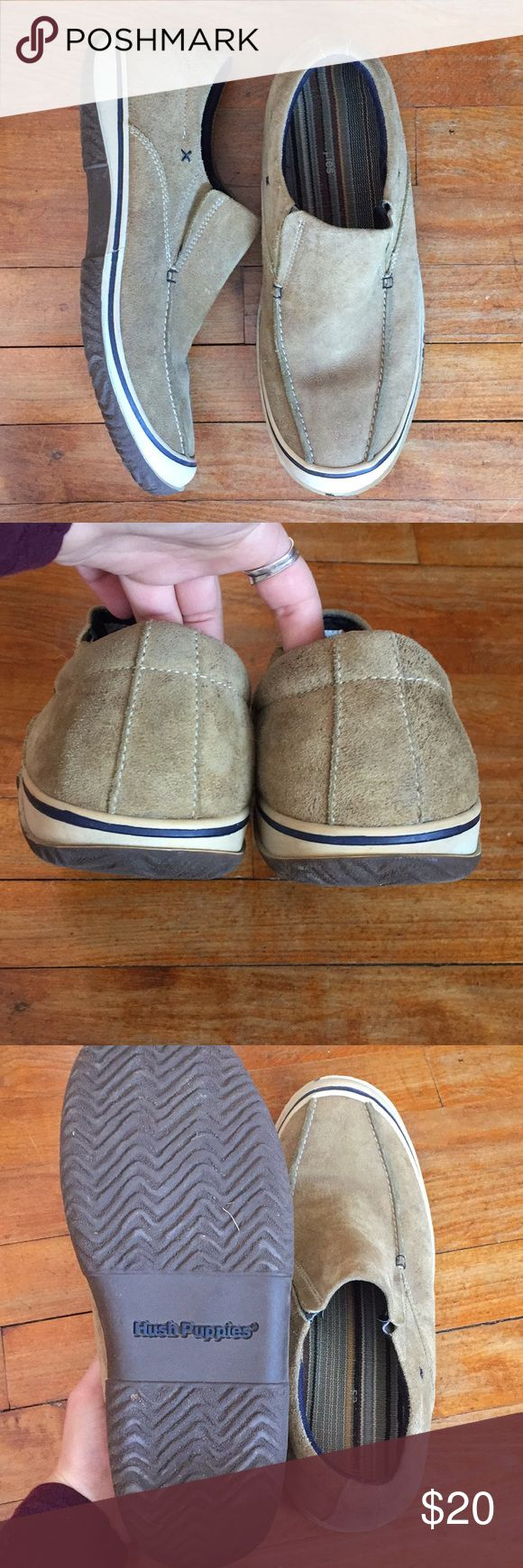 Hushpuppies // men's shoes Slip ons. Have some wear but still have life left in them! Hush Puppies Shoes Loafers & Slip-Ons