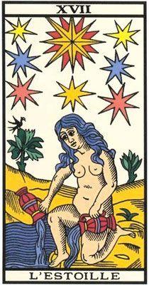 Interprétation tirage arcanes majeures Tarot de Marseille. Interprétation de L'étoile du Tarot de Marseille. L'étoile est la 17ème arcane majeur du tarot.