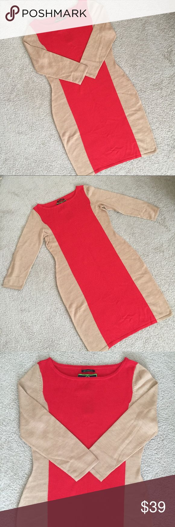 """C Wonder Elbow Sleeve Bateau Dress Size Medium 100% Marino Wool dress from C Wonder! Camel and red/orange color block design, 3/4 sleeve. 37"""" from shoulder to hem; 18"""" armpit to armpit; 15.5"""" across waist when laid flat. 19.5"""" across hip when laid flat. Sleeves are 20"""" long. Brand new with tags; however, label is coming loose from garment with some pulling of knit - please see pics for details. C Wonder Dresses"""