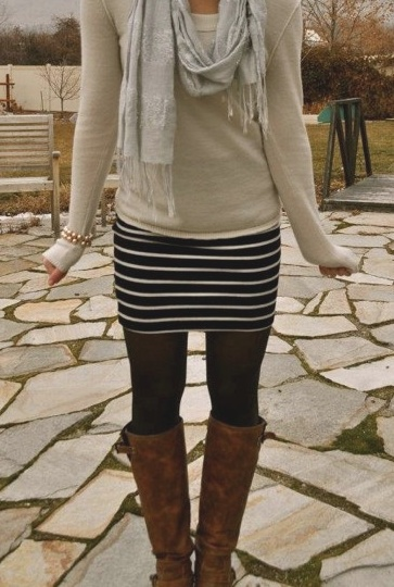 Black & white skirt, tights, brown boots, cream sweater, scarf