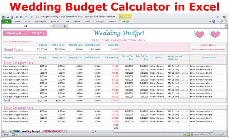 Wedding budget calculator online wedding planner - excel templates