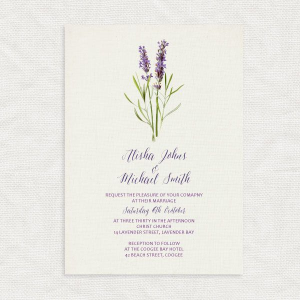 lavender wedding invitation floral and linen by idoityourself - Lavender Wedding Invitations