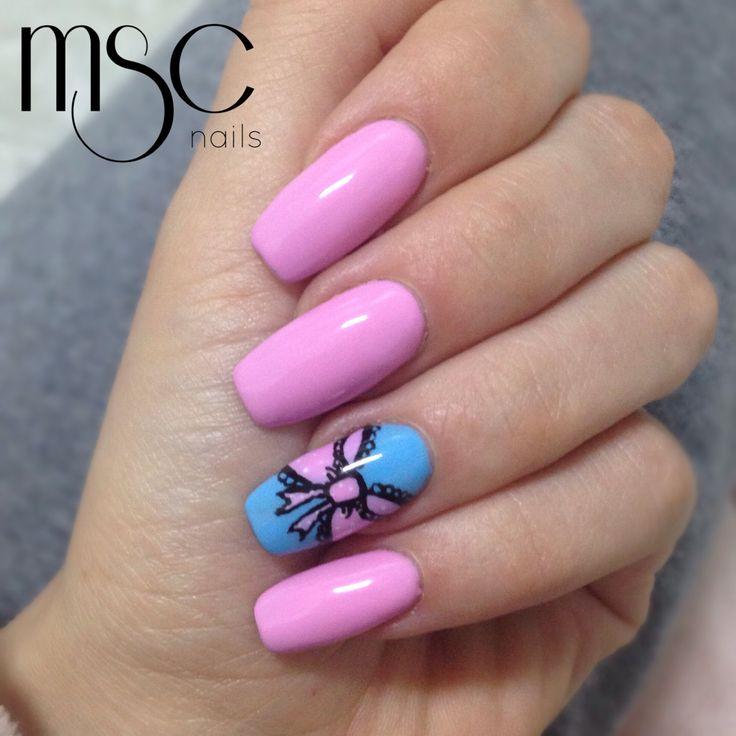 #mscnails #nails #uñas #acrylicnails #uñasacrilicas #pinknails #nailart #bow #semilac #gelpolish #diamondcosmetics