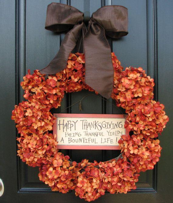Hydrangea Autumn Wreath,via Etsy