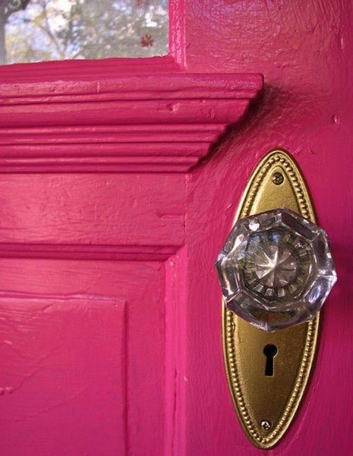 glass doorknob on a bright/bold door.  (not pink): The Doors, Doors Handles, Glasses Knobs, Doors Knobs, Front Doors, Hot Pink, Crystals Knobs, Glasses Doors, Pink Doors