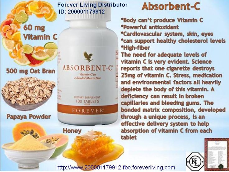 Forever Absorbent-C® Forever Absorbent-C® with Oat Bran is an outstanding nutritional supplement that combines two vital nutrients into one convenient product.  Since humans are among the few animals that are unable to make their own vitamin C, we must therefore get it from our food, drinks, and supplements, such as Forever Absorbent-C®.