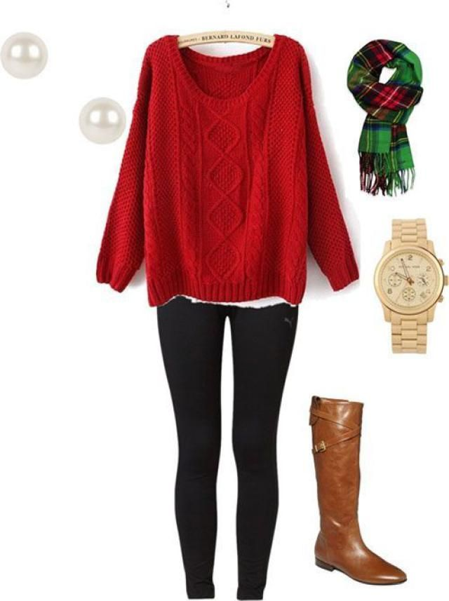 6 Cozy Christmas Outfit Ideas: Traditional Red Sweater