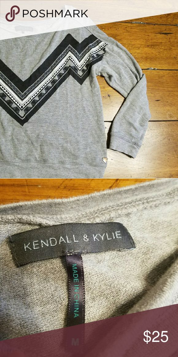 Kendall & Kylie Top Gray Kendall & Kylie Top with 3/4 length sleeves in great condition. No flaws.   Entire closet bogo 50% off or use the offer button! :) Kendall & Kylie Tops