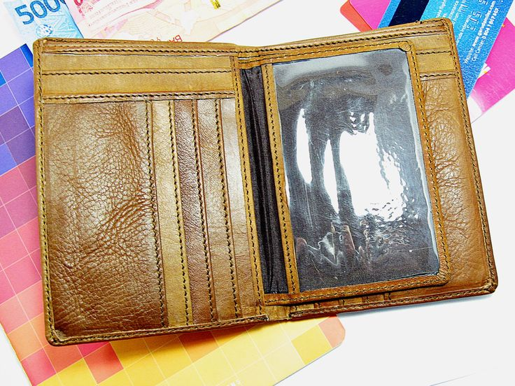 ASA MEN WALLET genuine leather brown slim father gift boyfriend gift handmade by Astaboho on Etsy
