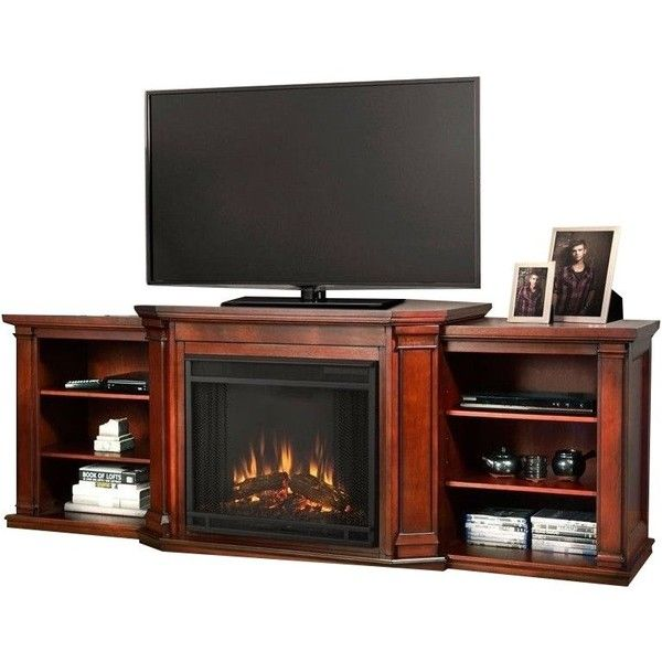 Real Flame Valmont Entertainment Center Electric Fireplace Dark... ($851) ❤ liked on Polyvore featuring home, furniture, storage & shelves, entertainment units, mahogany, mahogany shelves, recessed shelving, recessed shelf, fireplace shelf and recessed shelves