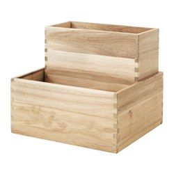 For side shelving unit - can paint indigo or cover in patterned paper - $10 - IKEA - SKOGSTA, Box, set of 2, Solid wood is a durable, natural material.