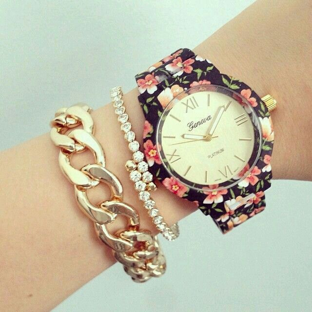 Black floral watch and bracelets from www.gogolush.com