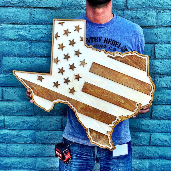 TEXAS AMERICAN FLAG TWO-TONE WOOD WALL ART