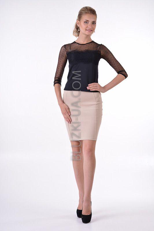 Черная блузка-топ с открытой спиной Seductions, купить онлайн. Интернет-магазин БЛУЗКИ UA, Украина - женская одежда и женские блузы.
