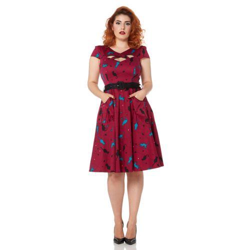 Voodoo-Vixen-Magenta-Gato-Impresion-1950-Pinup-Partido-Rockabilly-Vestido-De-Fiesta