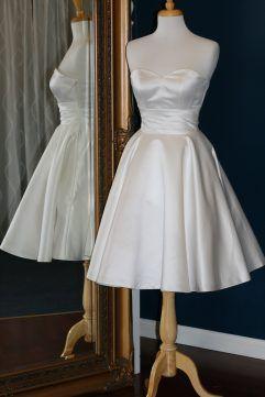 Audrey Lynn Vintage Bridal Imelda Dress with petticoat | Tea length wedding dress with sweetheart neckline, ruching around waist and circle skirt made from satin | Simple tea length wedding dress