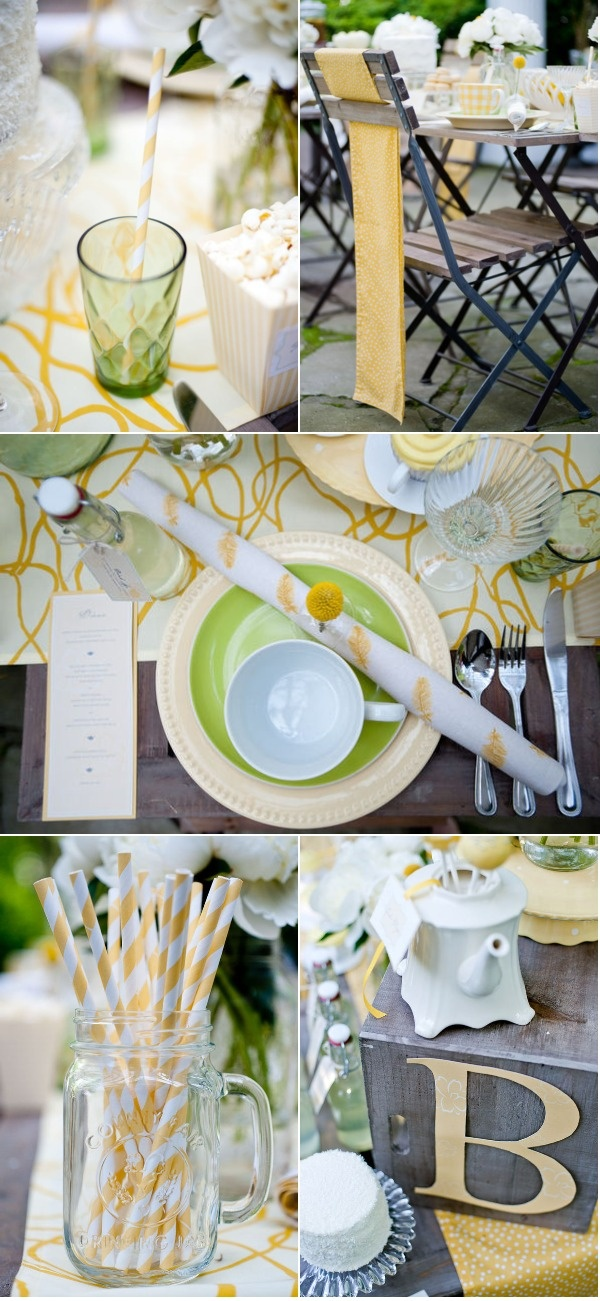Yellow Tea Party :) I want these yellow straws! #yellow