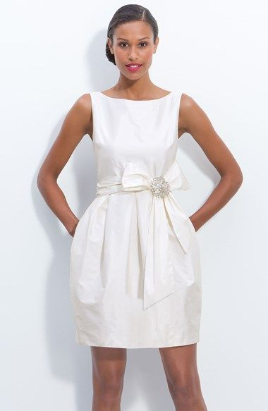 Free shipping and returns on Eliza J Jeweled Sleeveless Satin Tulip Dress at Nordstrom.com. Gleaming jeweled pin centers the whimsically oversized bow at the waist of a sleeveless satin dress elegantly finished with a wide back V-neckline and inverted pleats that shape the short tulip skirt.