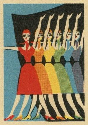 Postkaart - Performers in rainbow colours
