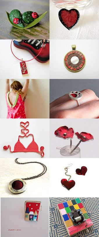 red,red,red and...green!  by Saphira on Etsy--Pinned with TreasuryPin.com