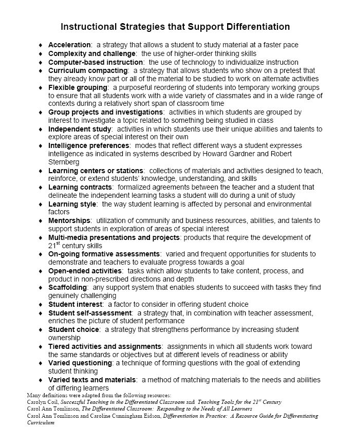 Instructional Strategies that support Differentiation. This wiki also has other resources for differentiation.