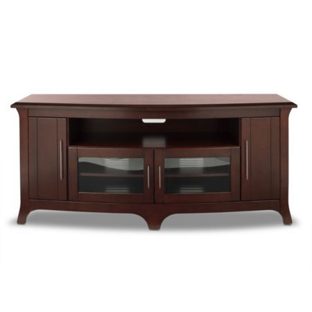 "TechCraft Walnut Finish Wide, Curved Front Credenza for TVs Up to 70"" or 200 lbs. (Model: EOS6428)"