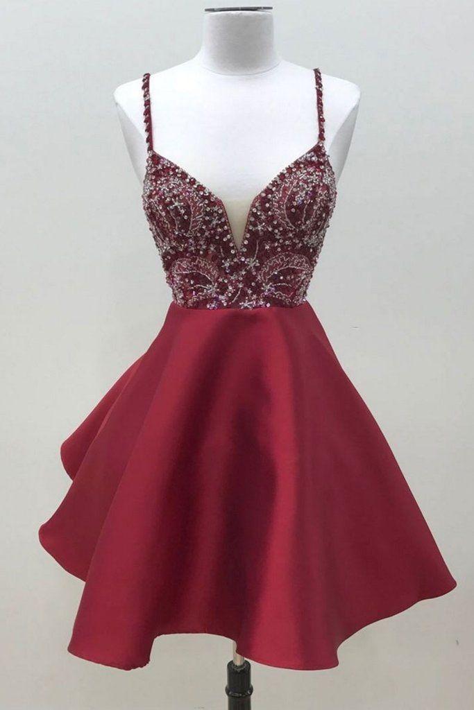 eedee77a835 Sexy Straps Prom Dress, Beaded Burgundy Satin Prom Dress, Short ...