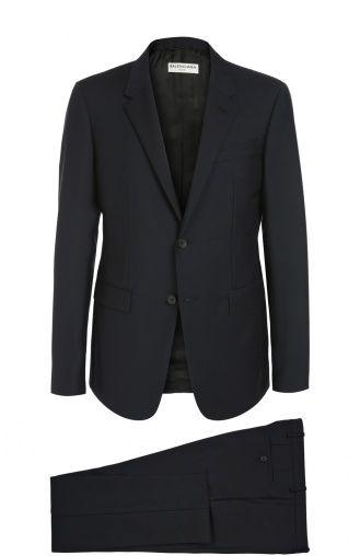 Мужской синий приталенный шерстяной костюм Balenciaga, сезон FW 16/17, арт. 390206/TAI10 купить в ЦУМ | Фото №1