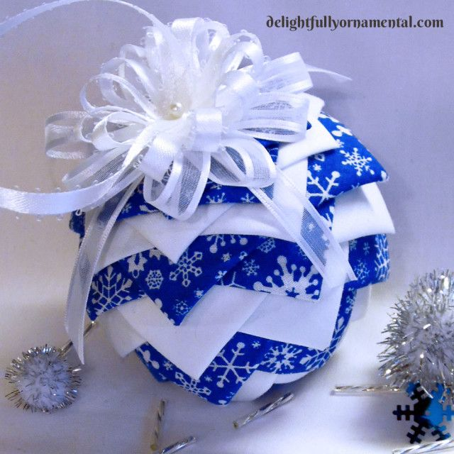 Happy Sunday! Show and Tell! - Folded Fabric Pinecone Ornament Ball - delightfullyornamental.com
