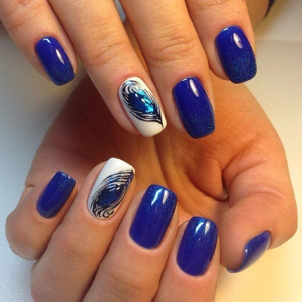 A deep sapphire color with silver shining looks rich and expensive. A decorative design that matches the basic tone with pea-cock feathers pattern creates