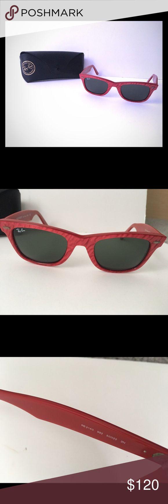 Red Wayfarer Ray Ban Sunglasses Red wayfarer sunglasses. With case. Ray-Ban Accessories Sunglasses